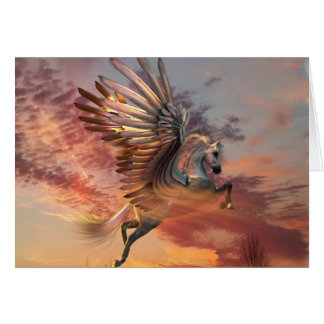 "Sunset Pegasus Card 5"" x 7"" Std wht envelope incl カード"