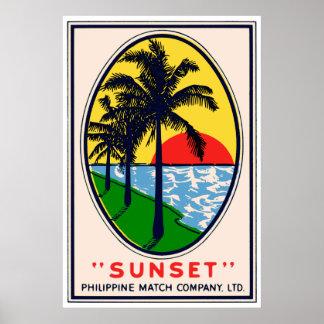 Sunset Philippine Match Companyの株式会社ラベル ポスター