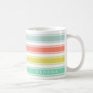 Sunwashedのネオン小屋のストライプ コーヒーマグカップ