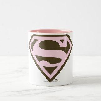 Supergirlのピンクおよびブラウンのロゴ ツートーンマグカップ