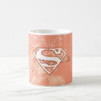 Supergirlのモモの花柄パターン コーヒーマグカップ