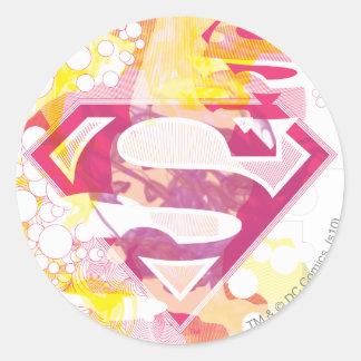 Supergirlのレトロのロゴ ラウンドシール