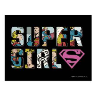 Supergirlの漫画のロゴ ポストカード