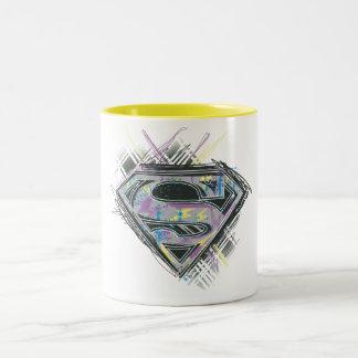 Supergirlはロゴを走り書きします ツートーンマグカップ