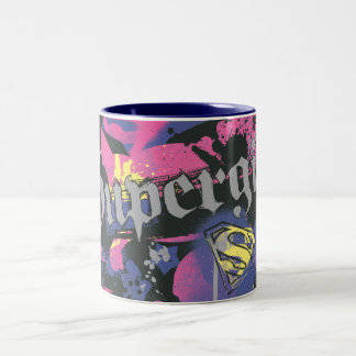 Supergirlは(ばちゃばちゃ)跳ねるを市松模様にしました ツートーンマグカップ