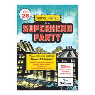 Superhero Comic Party Invitation カード