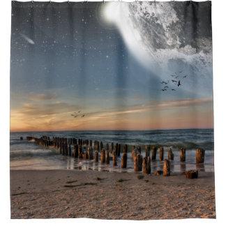 Supermoonのビーチのシャワー・カーテン シャワーカーテン