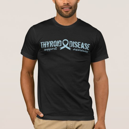 support Thyroid Disease awareness ribbon Tシャツ
