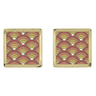 SuriseSunsetメンズ正方形のカフスボタン ゴールド カフスボタン