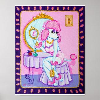 Suzetteピンクのプードルのプリント ポスター