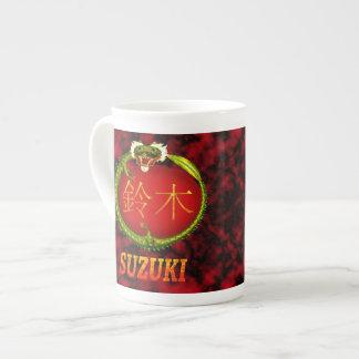 Suzukiのモノグラムのドラゴン ボーンチャイナカップ