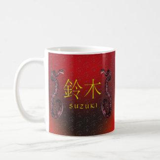 Suzukiのモノグラムのヘビ コーヒーマグカップ