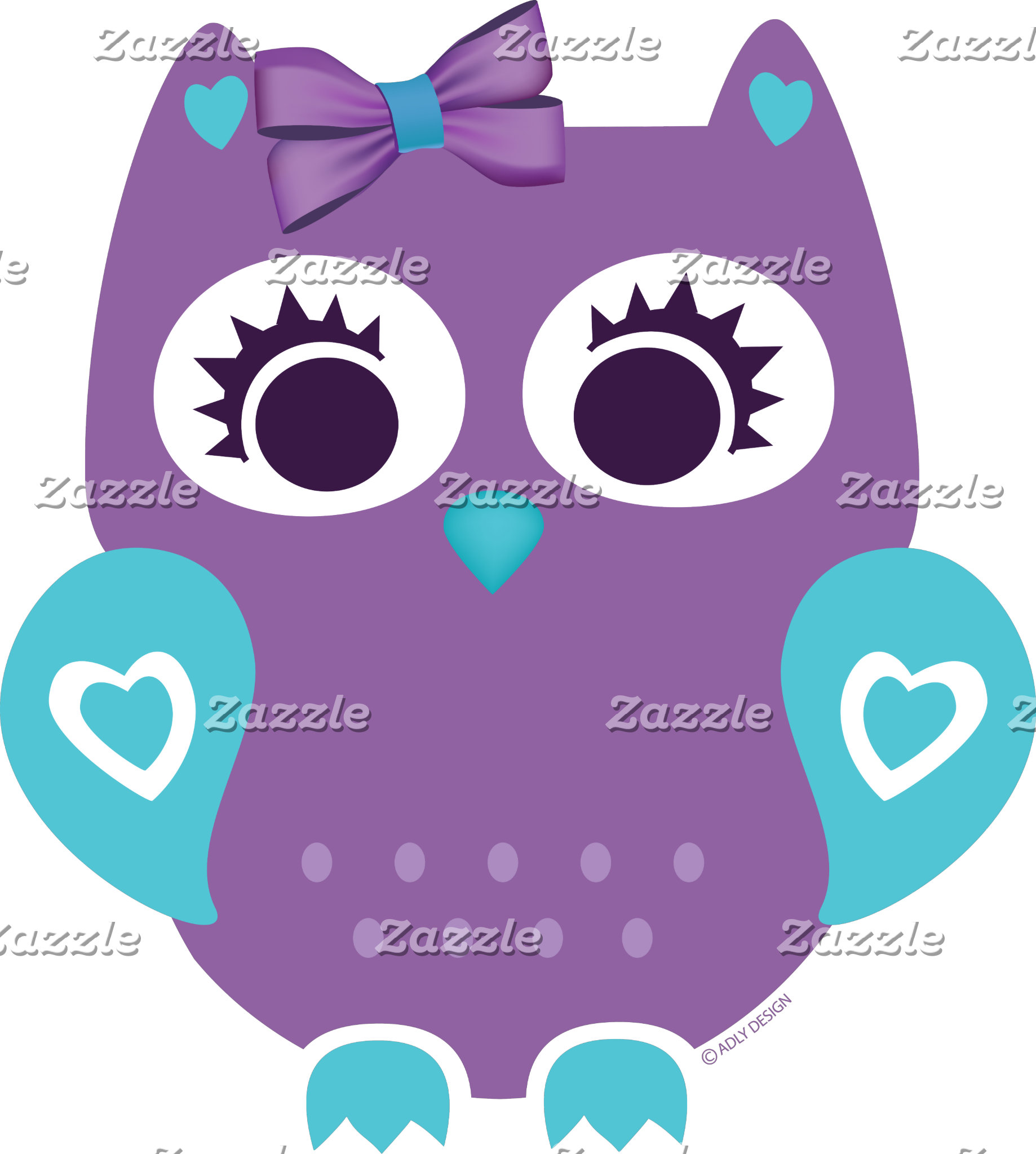 Purple Teal Girl Owl