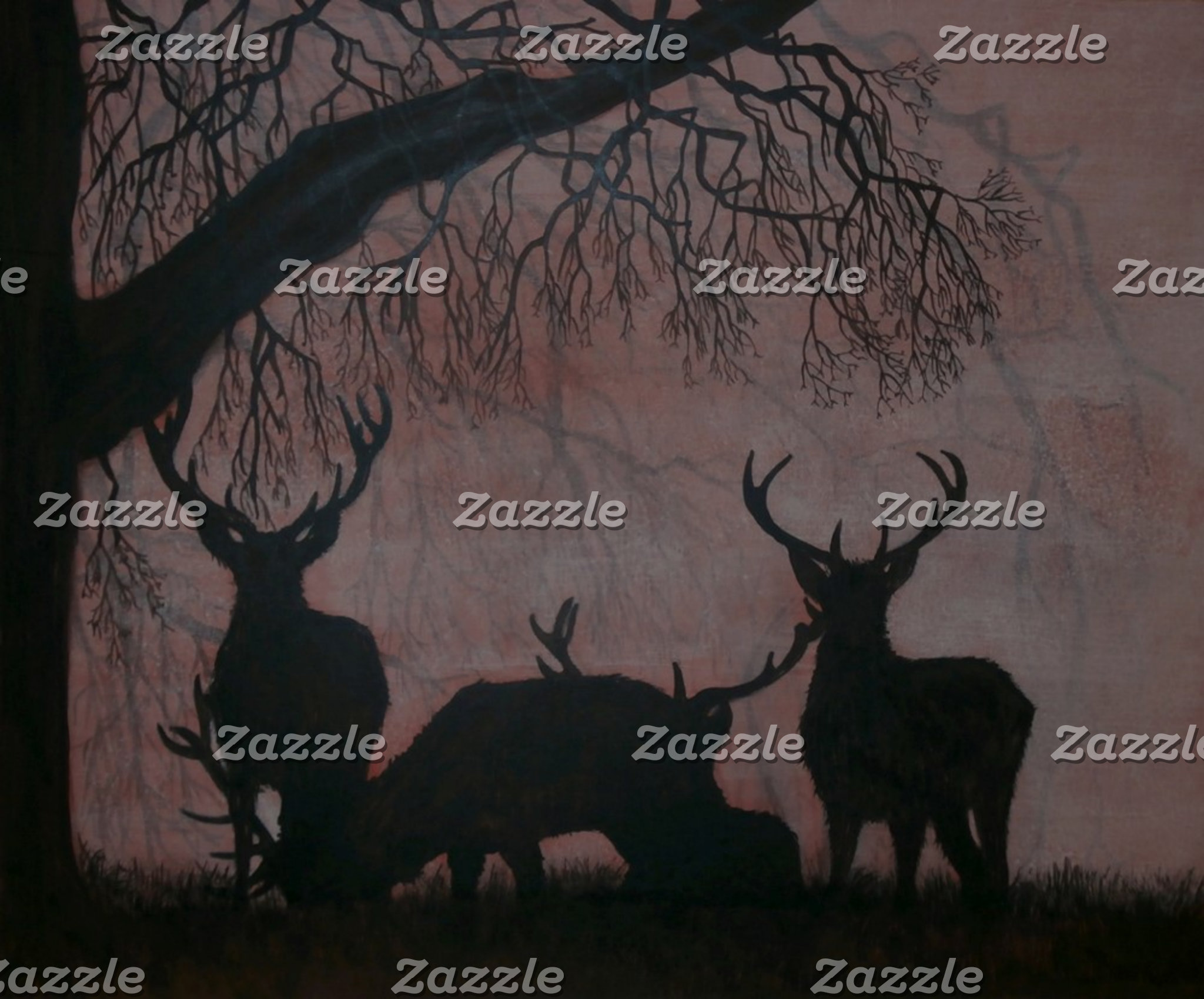 Red Deer Evening Silhouette