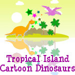 Tropical Island Cartoon Dinosaurs