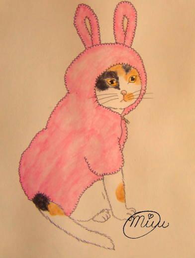 【もこもこピンクのうさ猫ちゃん】
