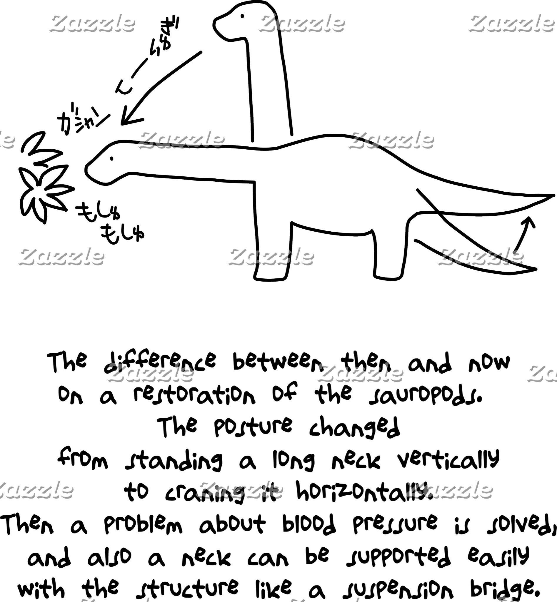 【恐竜今昔(効果音付き-黒】 Sauropods, then & now (w/ SE, black