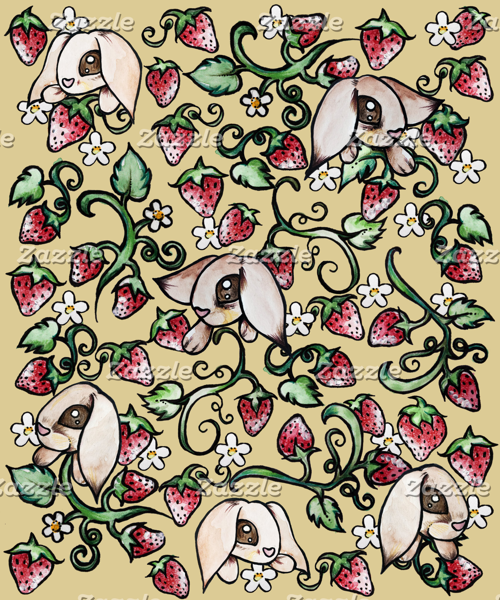 Rabbits in a Strawberry Patch