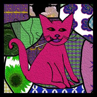 Modern Folk Art Smoking Cat