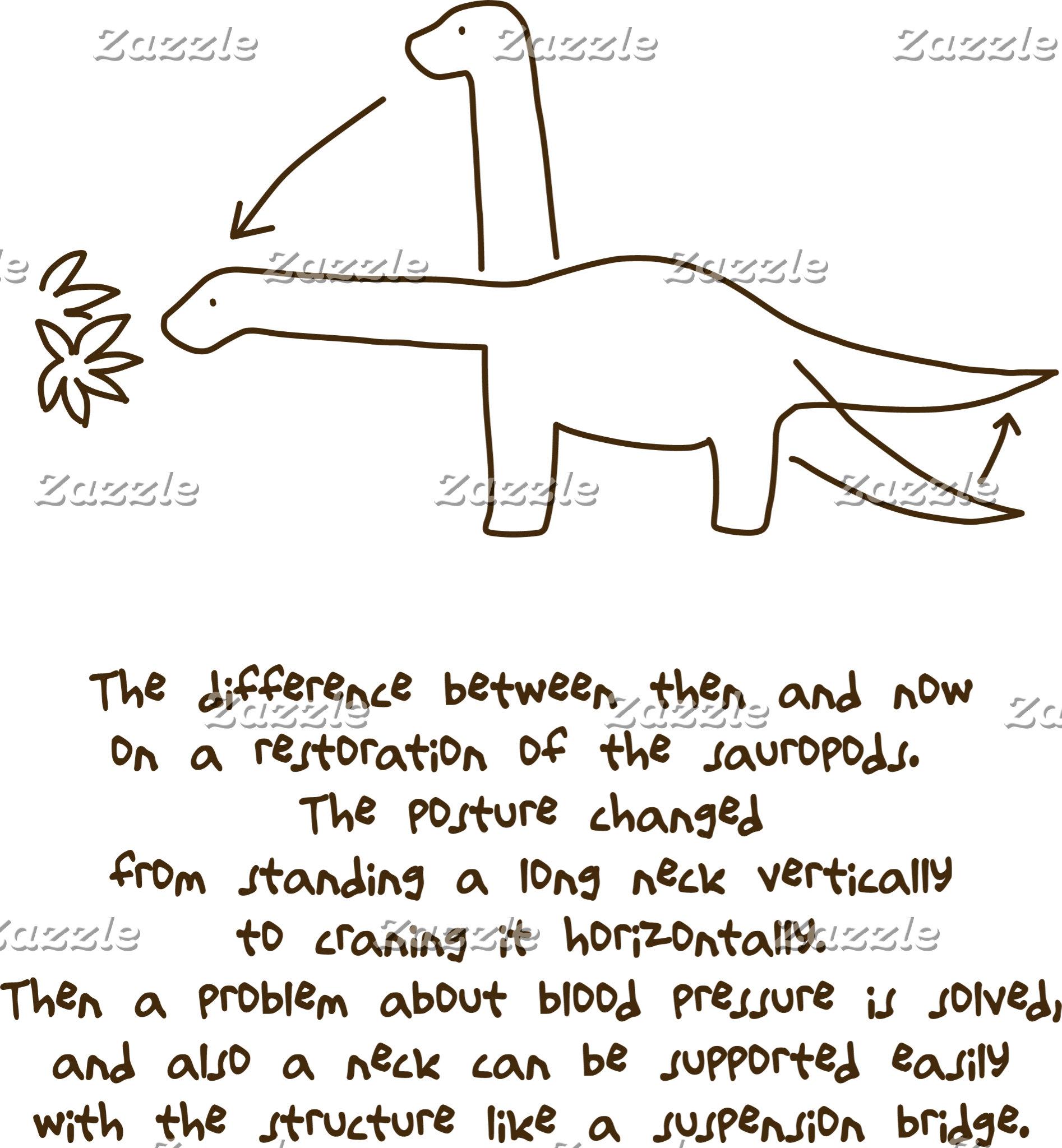 【恐竜今昔(効果音無し-茶】Sauropods, then & now (w/o SE, brown