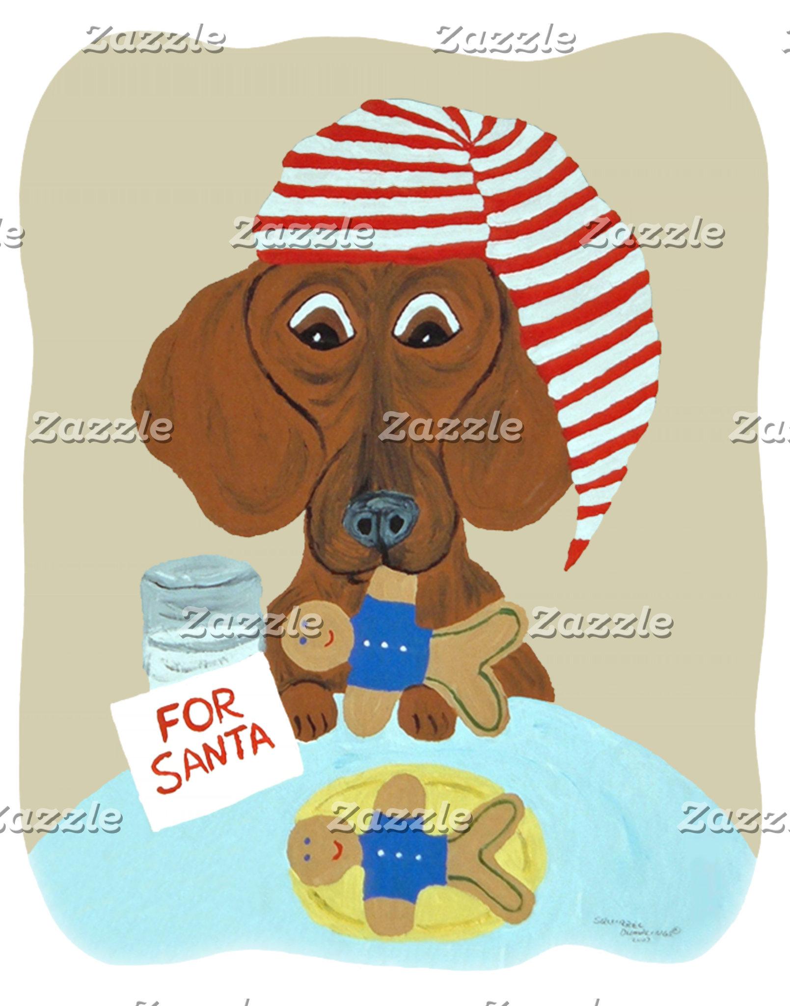 Dachshund Guarding Santa's Cookies