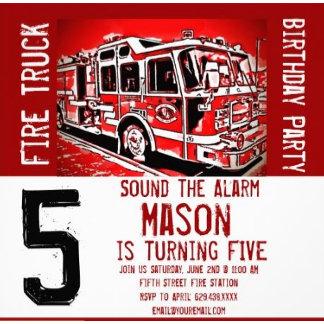 Fire Truck Birthday Party Invitations