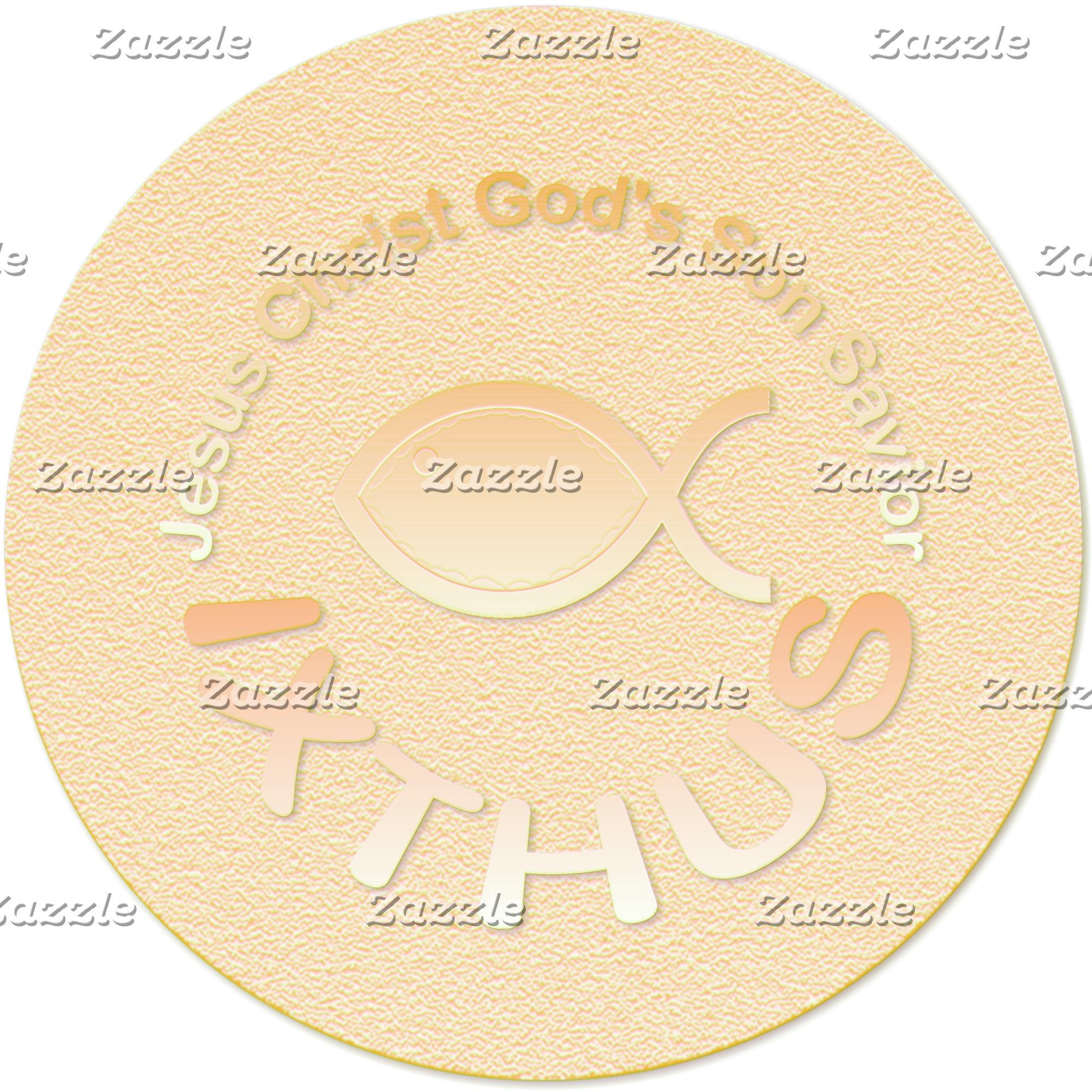IXTHUS Christian Fish Symbol - Circular (Metallic)