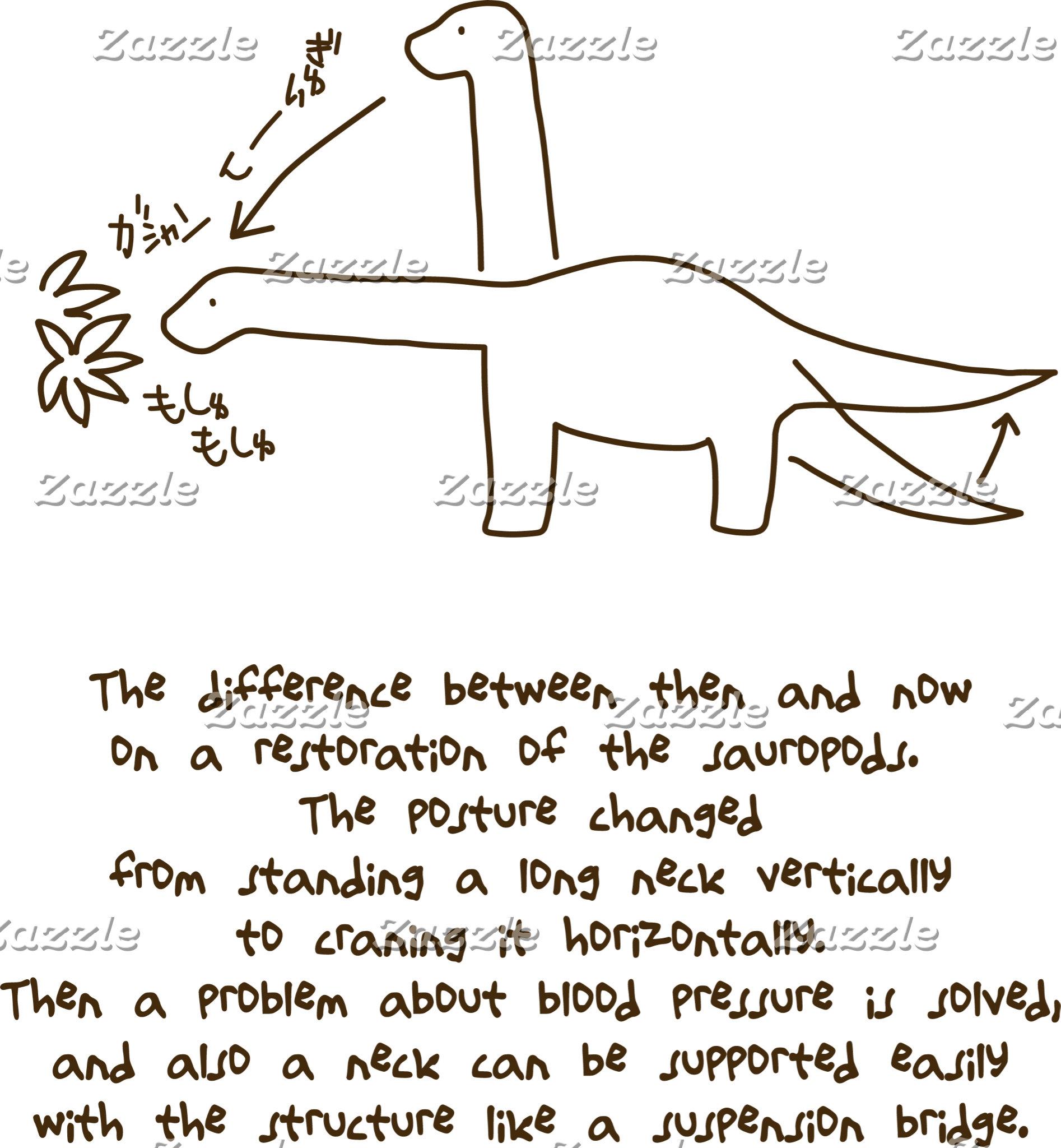 【恐竜今昔(効果音付き-茶】 Sauropods, then & now (w/ SE, brown