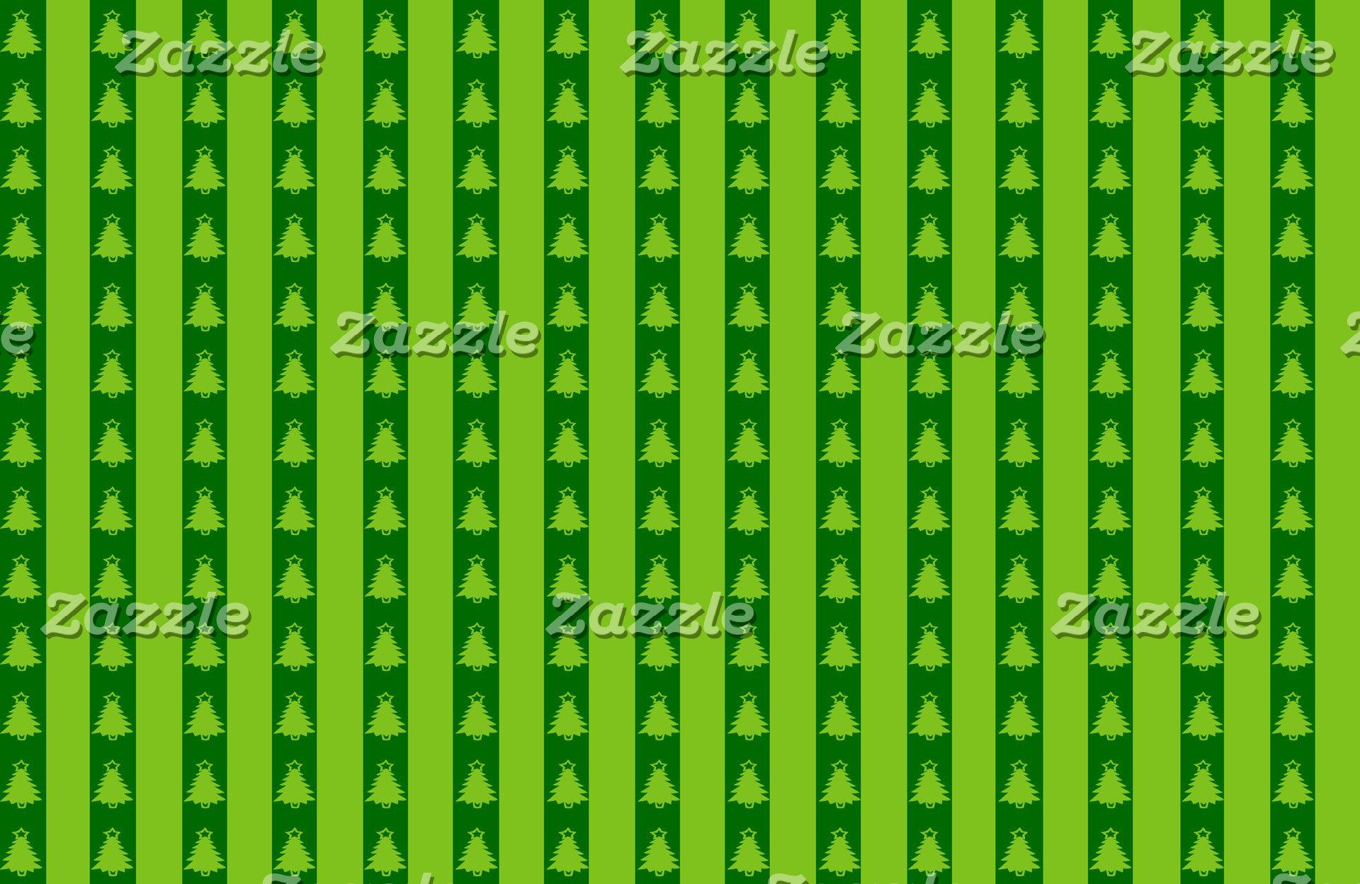Green Striped Christmas Tree Pattern