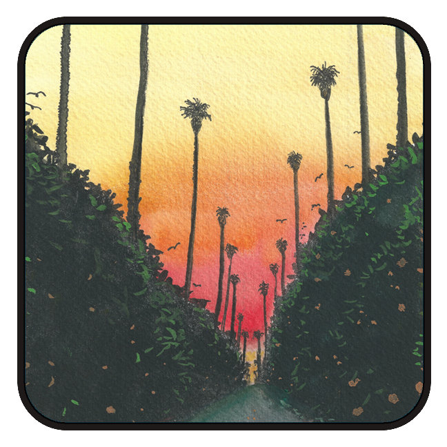 Palm Lined Street at Sundown