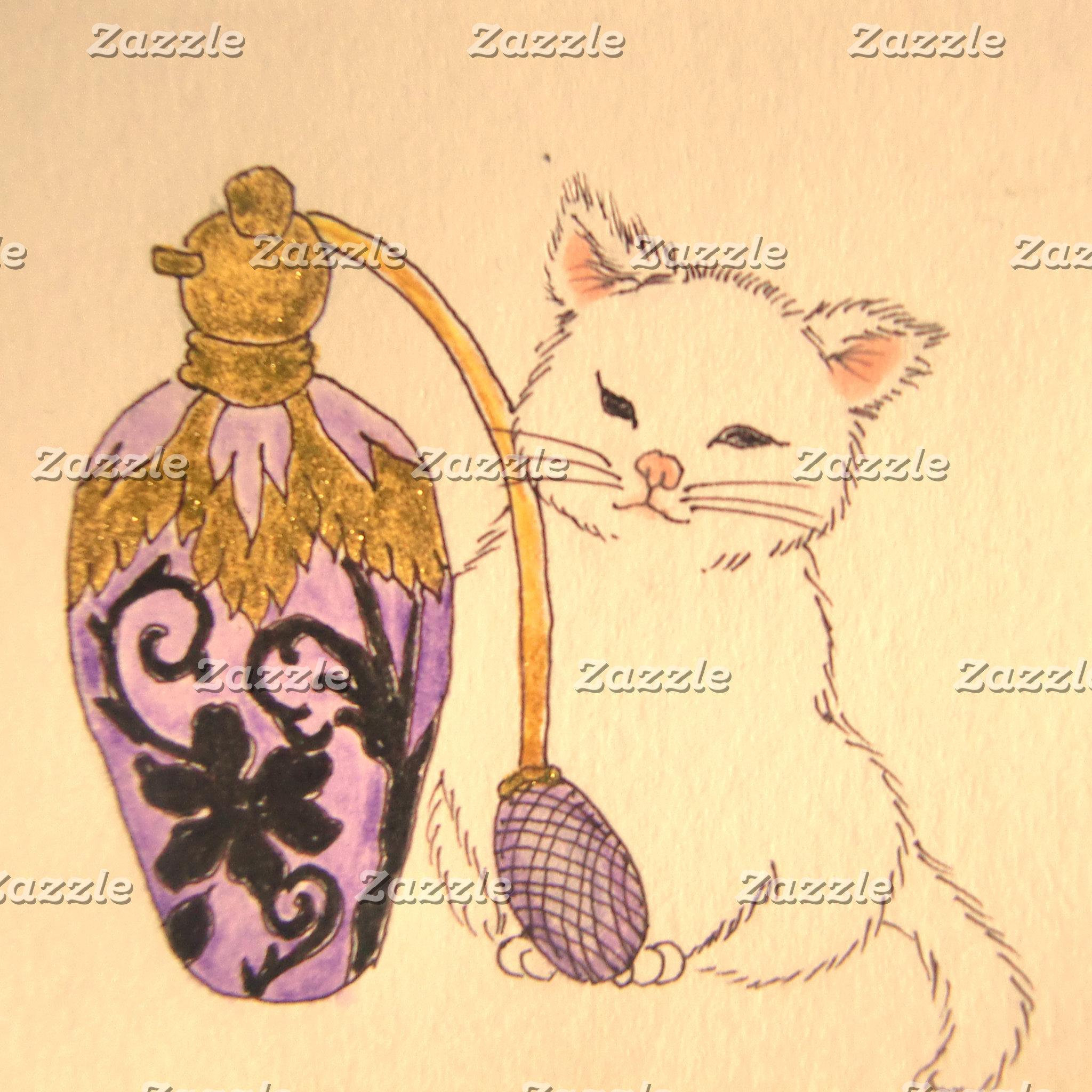 【アンティークスタイルの香水瓶と仔猫ちゃん】