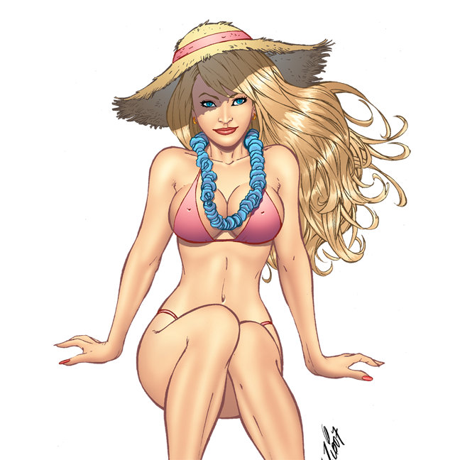 Bikini Girl Pinup Art and Illustrations