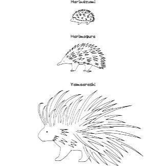 【はりーず(ローマ字-黒】Hedgehog, Echidna, Porcupine(Jp-black