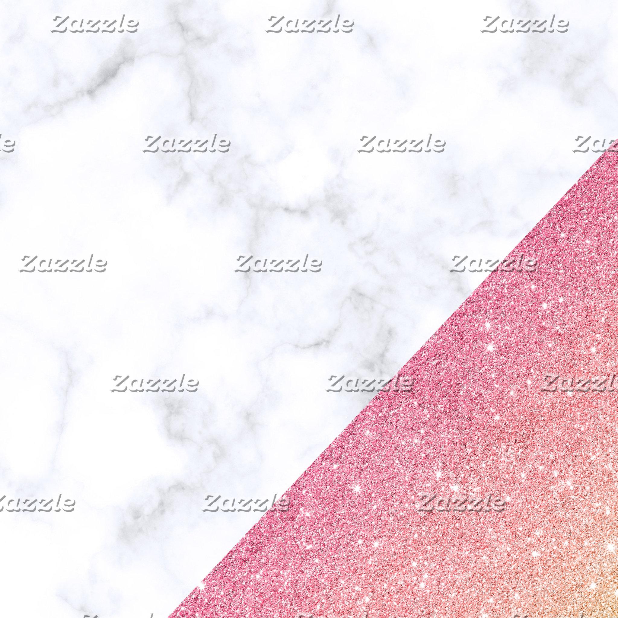 Rose gold glitter marble