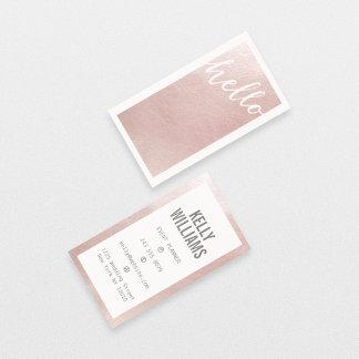 Elegant faux pink rose gold foil chic hello modern