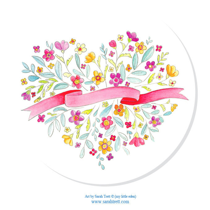 Watercolor Heart Bouquet