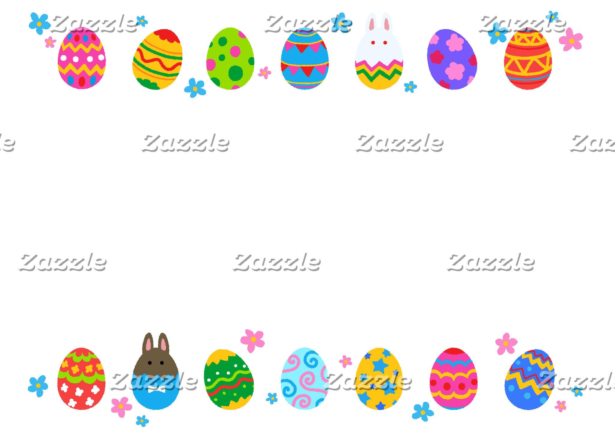 【イースターエッグと兎 横並び(ふちギザ】Easter Eggs & Rabbits (jagged