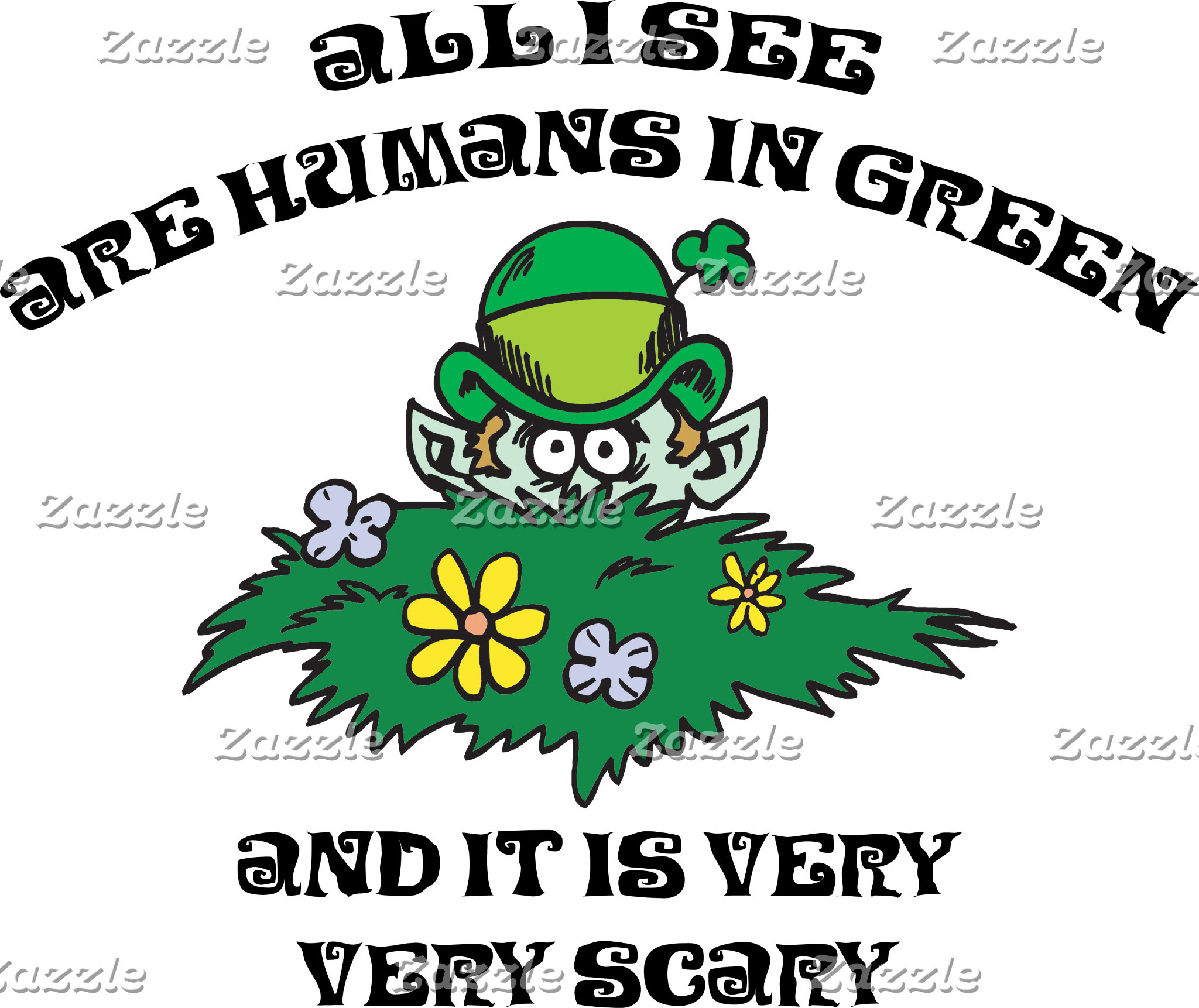 Funny Leprechaun - Humans In Green T-Shirts
