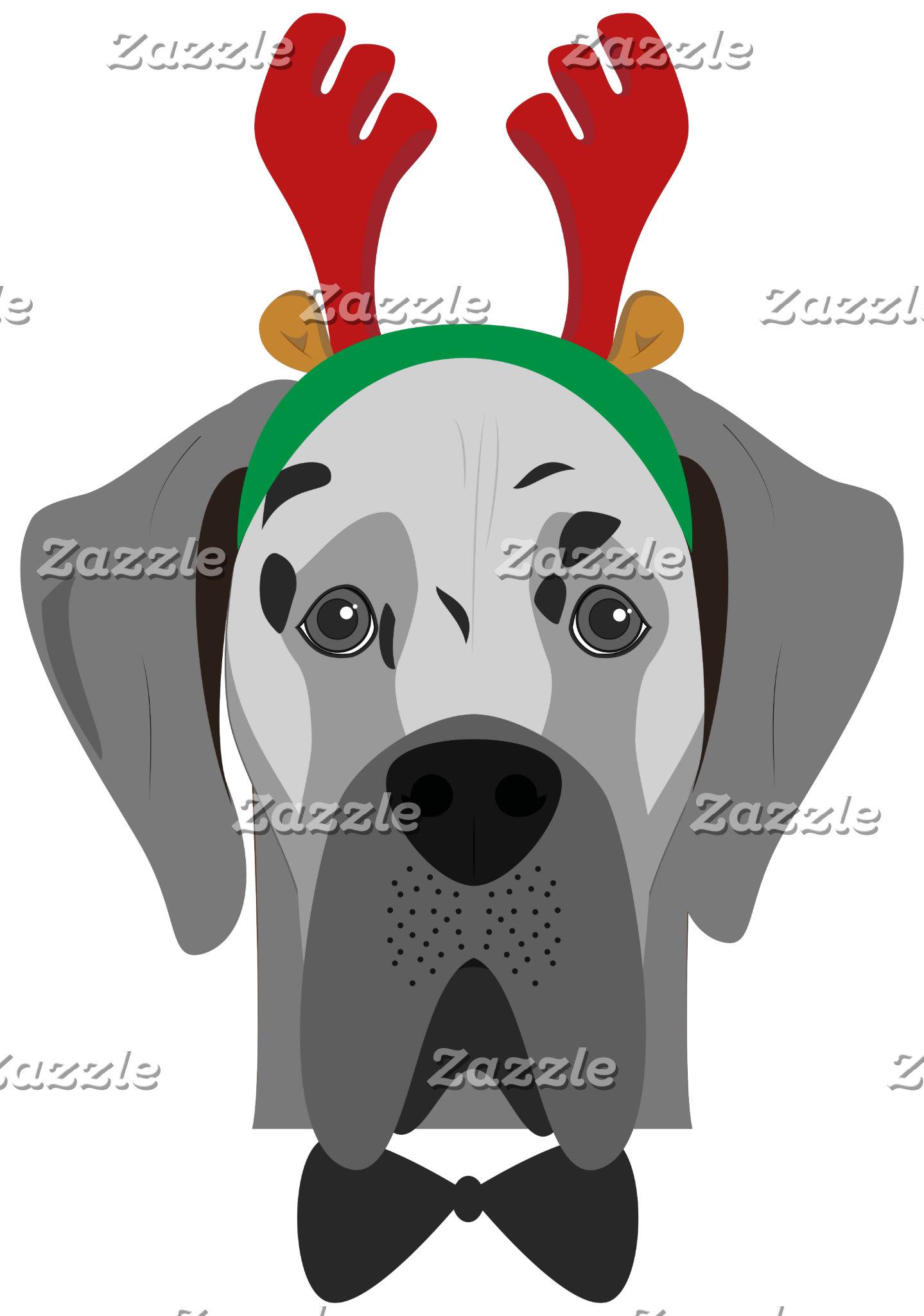 Great Dane Christmas Dog Portrait