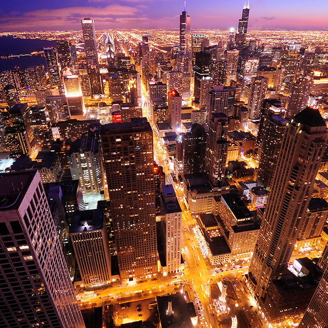 Cityscape at night of Chicago