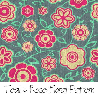 Teal & Rose Floral Pattern
