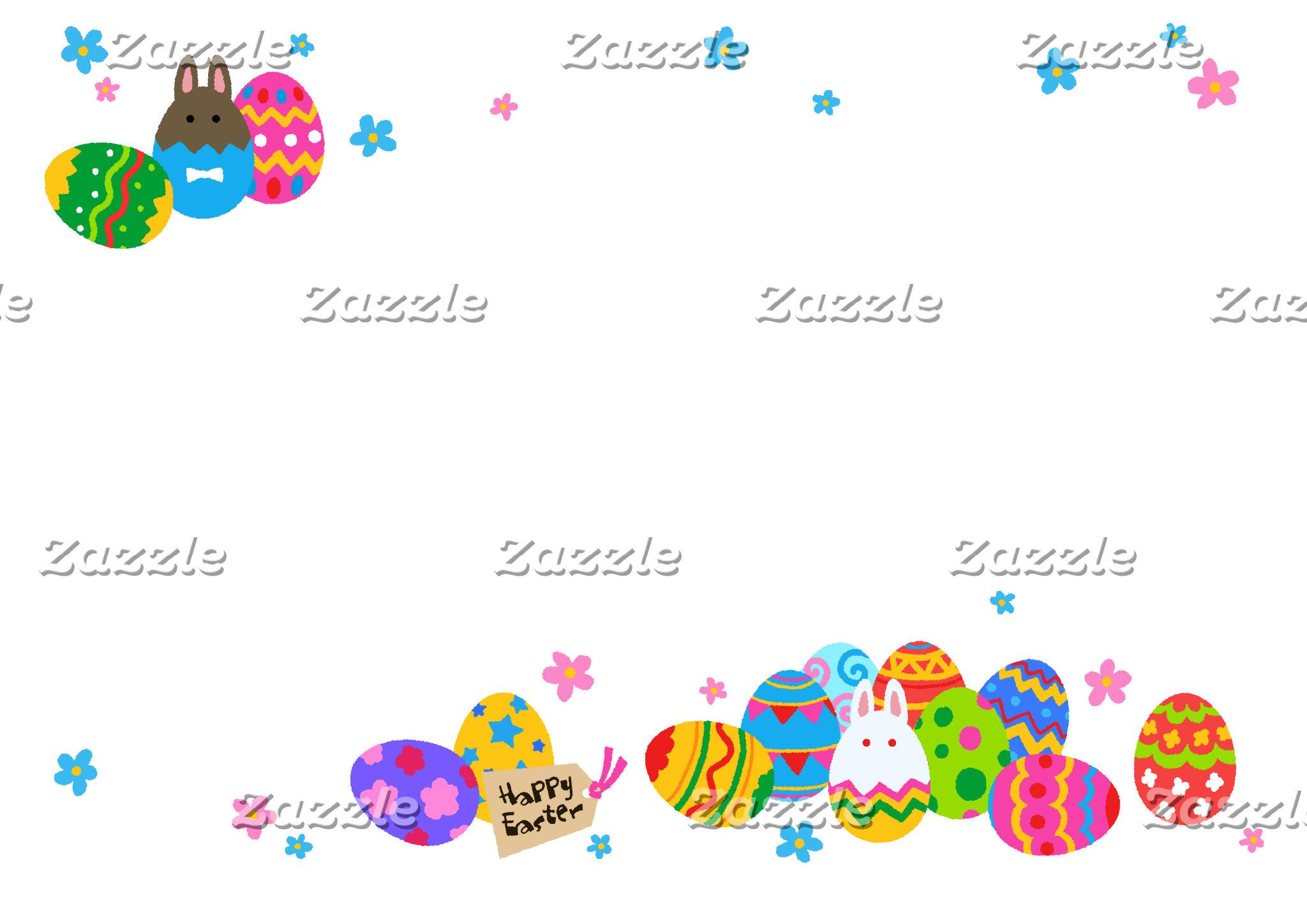【イースターエッグと兎 重なり(ふちギザ】Easter Eggs & Rabbits (jagged