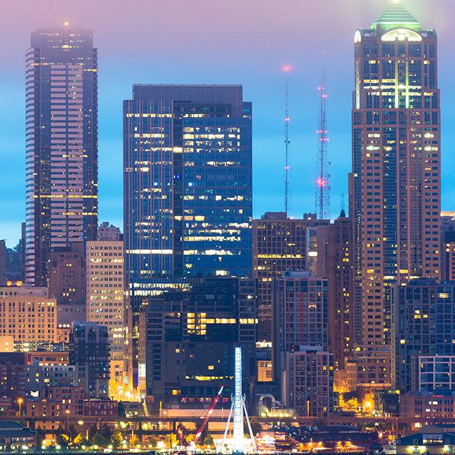 Downtown Seattle at Dawn, Washington, USA