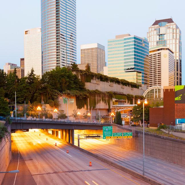 Interstate 5 Under Freeway Park, Seattle