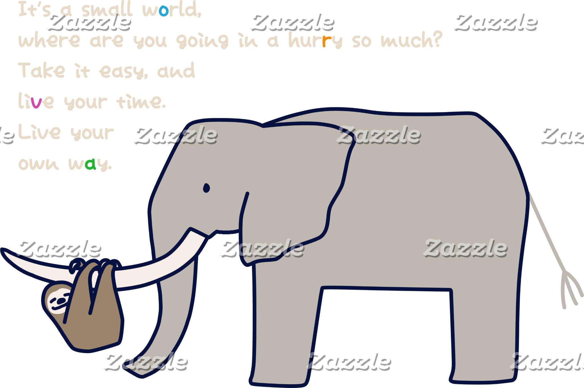 【ゾウとぶらさがりナマケモノ(濃色】Elephant w/ hanging Sloth (dark)