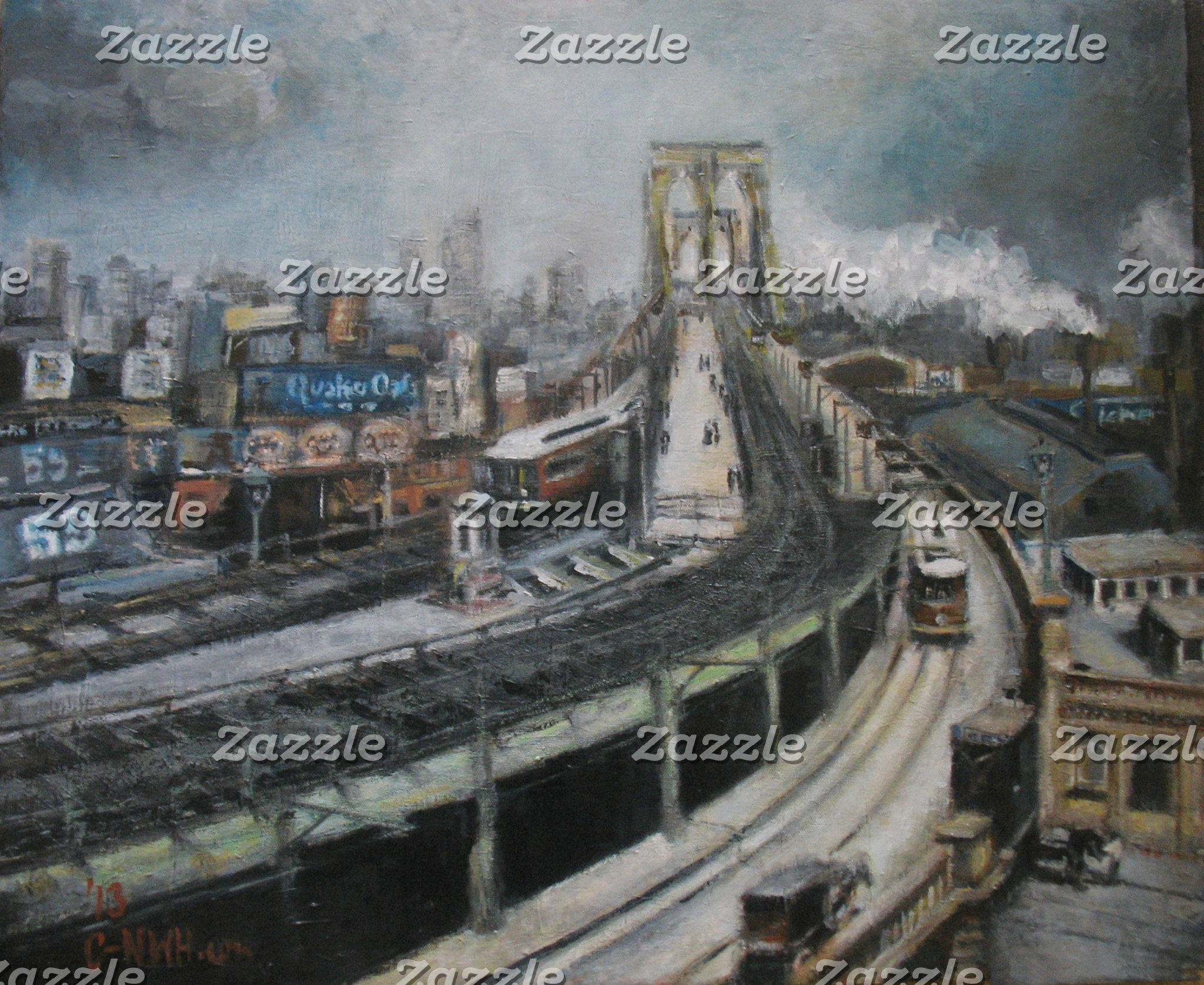 Vintage New York City Brooklyn Bridge Painting