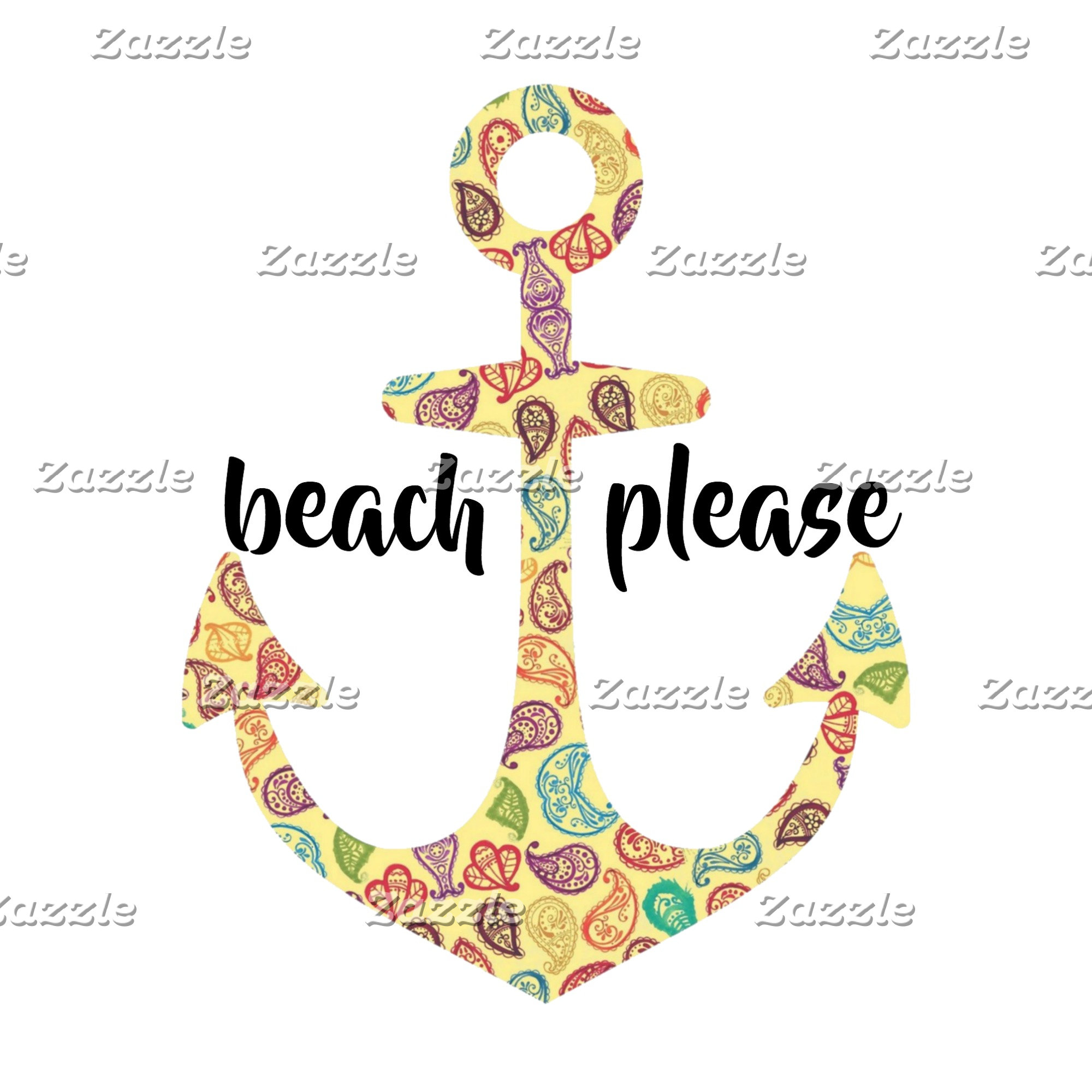 Beach Please Paisley Anchor