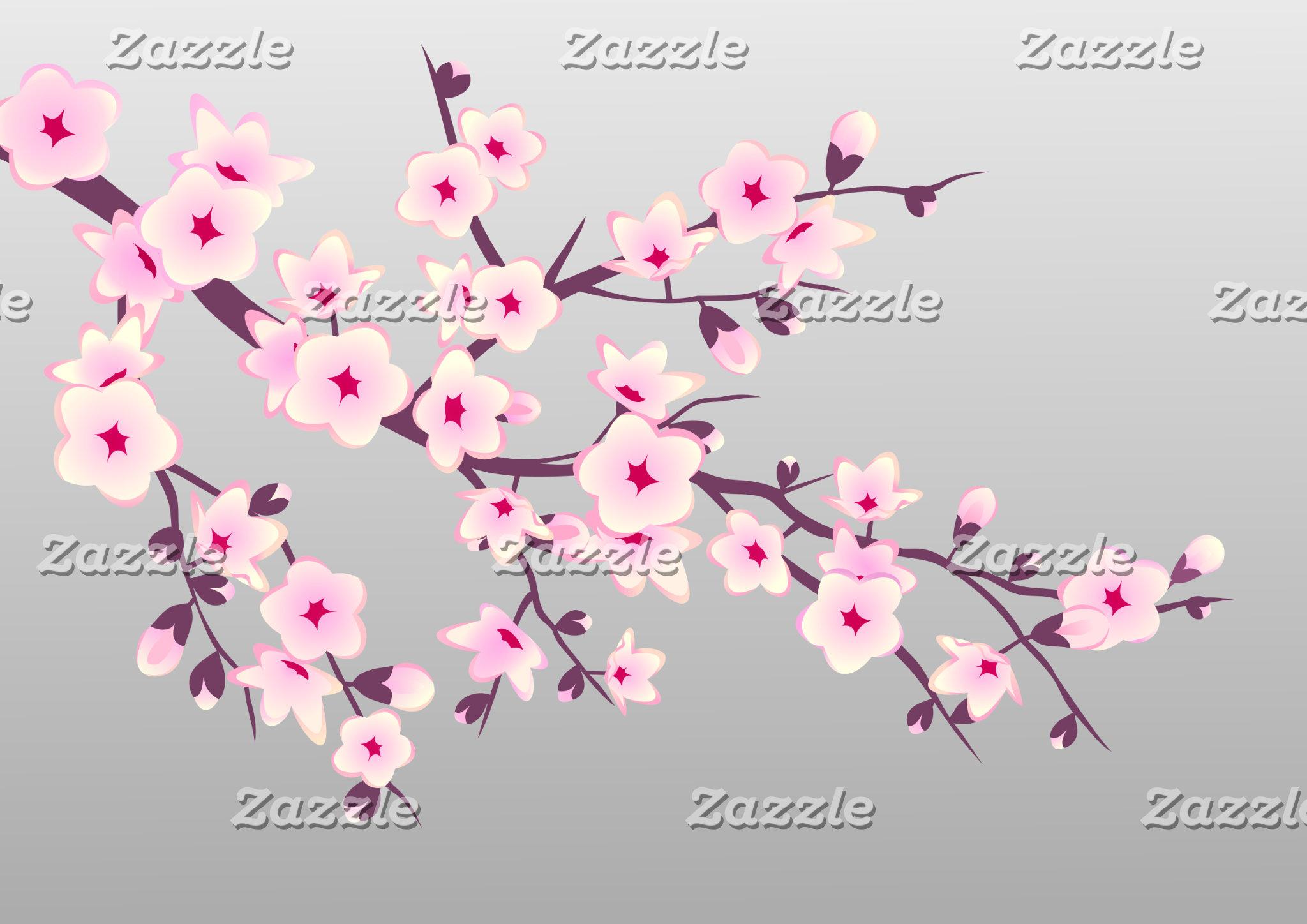 Wedding Pink Gray Cherry Blossoms