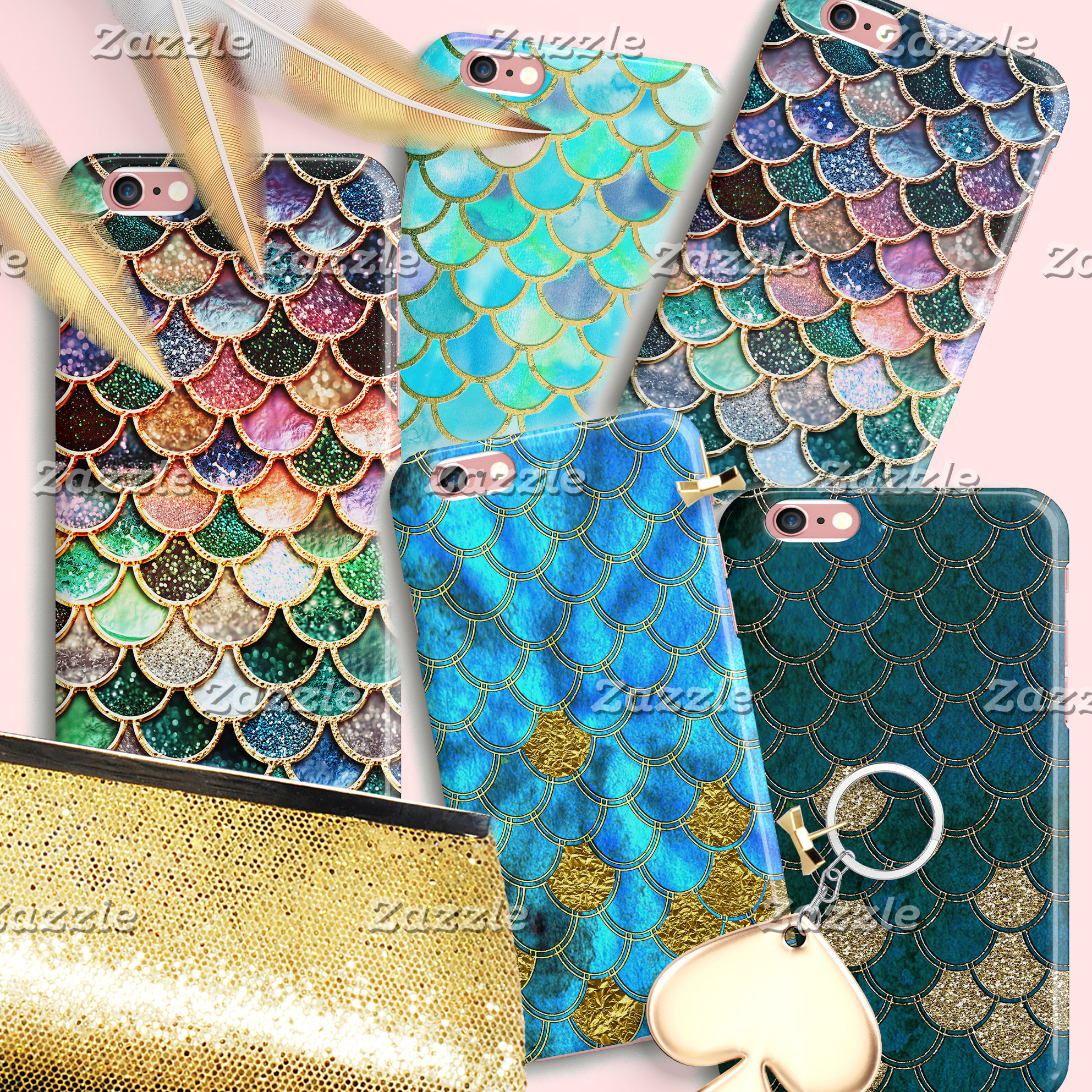 Mermaid Scales - Colorful Faux Glitter Patterns