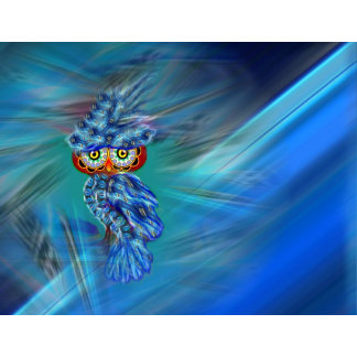 Magical Blue Plumage Fashion Owl